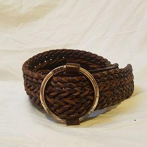 RALPH LAUREN Wide Brown Woven Leather Belt